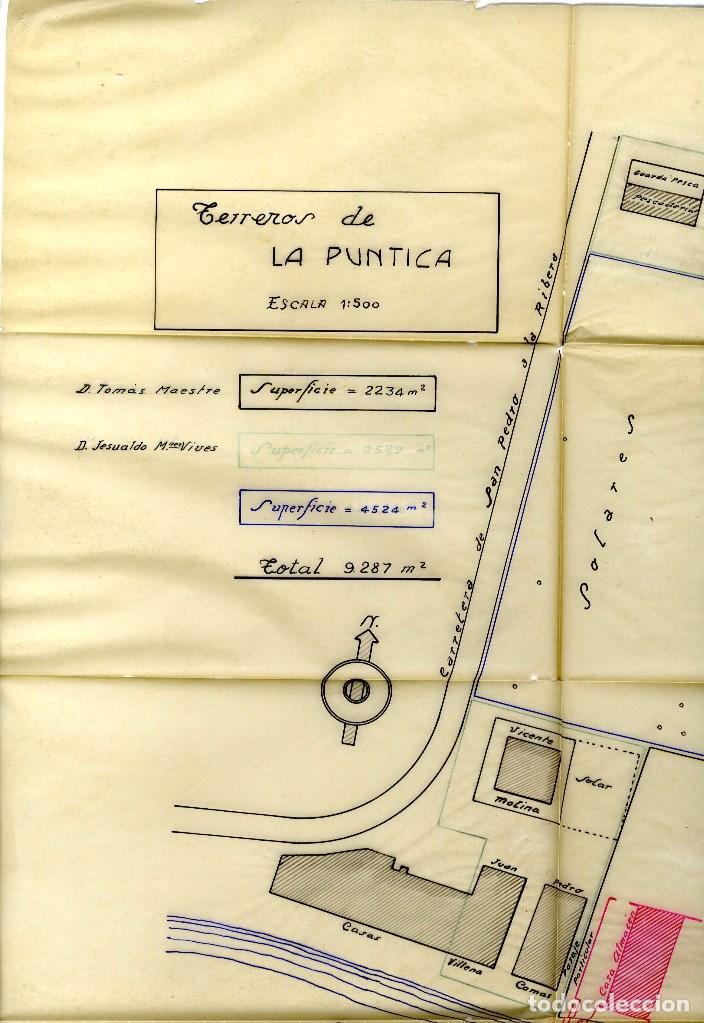 Coleccionismo Papel Varios: MURCIA SAN JAVIER LO PAGAN BONITO PLANO DIBUJADO ZONA LA PUNTICA AÑOS CUARENTA 1943 - Foto 2 - 162142666