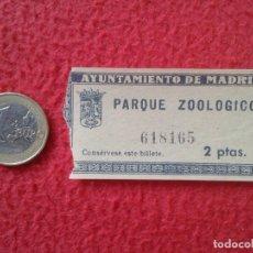Coleccionismo Papel Varios: ENTRADA TICKET ENTRY ENTRANCE AYUNTAMIENTO DE MADRID PARQUE ZOOLÓGICO ZOO PARK PARC ZOOLOGIQUE VER F. Lote 162345546
