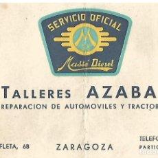 Coleccionismo Papel Varios: TARJETA SERVICIO OFICIAL MSS MASSE DIESEL TALLERES AZABAL AUTOMOVILES Y TRACTORES ZARAGOZA AÑOS 50. Lote 162370522