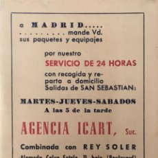 Coleccionismo Papel Varios: GUÍA FERROCARRILES CON PUBLICIDAD. AGENCIA ICART. SAN SEBASTIÁN. . Lote 162702806