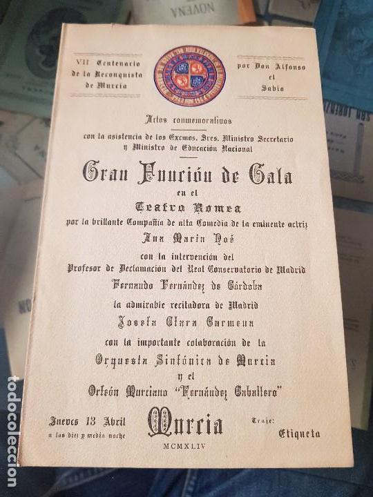 PROGRAMA ACTOS VII CENTENARIO RECONQUISTA DE MURCIA ACADEMIA ALFONSO X EL SABIO 1944 (Coleccionismo en Papel - Varios)