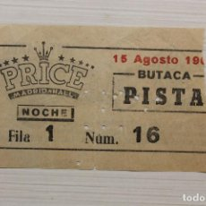 Coleccionismo Papel Varios: ENTRADA PRICE MADRID-HALL, TRASERA PUBLICIDAD MOTOCARRO R.O.A.. Lote 163730306
