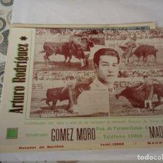 Coleccionismo Papel Varios: TARJETA DEL NOVILLERO ARTURO RODRIGUEZ. Lote 164704582