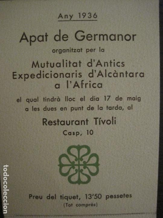 Coleccionismo Papel Varios: MENU-ANTICS EXPEDICIONARIS DALCANTARA A AFRICA-RESTAURANT TIVOLI-ANY 1936-VER FOTOS-(V-17.007) - Foto 2 - 165100226
