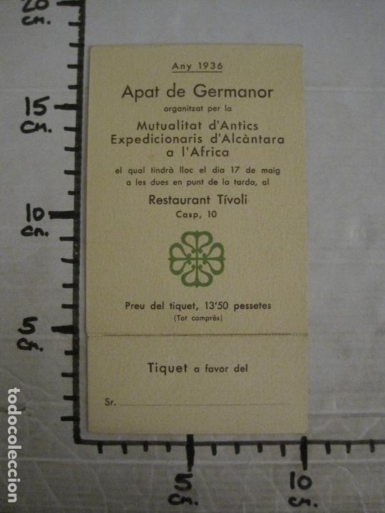 Coleccionismo Papel Varios: MENU-ANTICS EXPEDICIONARIS DALCANTARA A AFRICA-RESTAURANT TIVOLI-ANY 1936-VER FOTOS-(V-17.007) - Foto 7 - 165100226