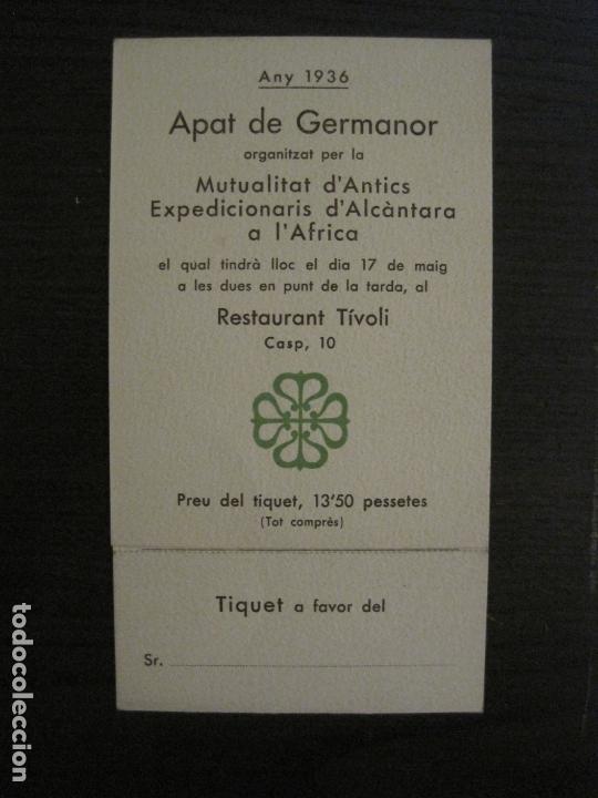 MENU-ANTICS EXPEDICIONARIS D'ALCANTARA A AFRICA-RESTAURANT TIVOLI-ANY 1936-VER FOTOS-(V-17.007) (Coleccionismo en Papel - Varios)