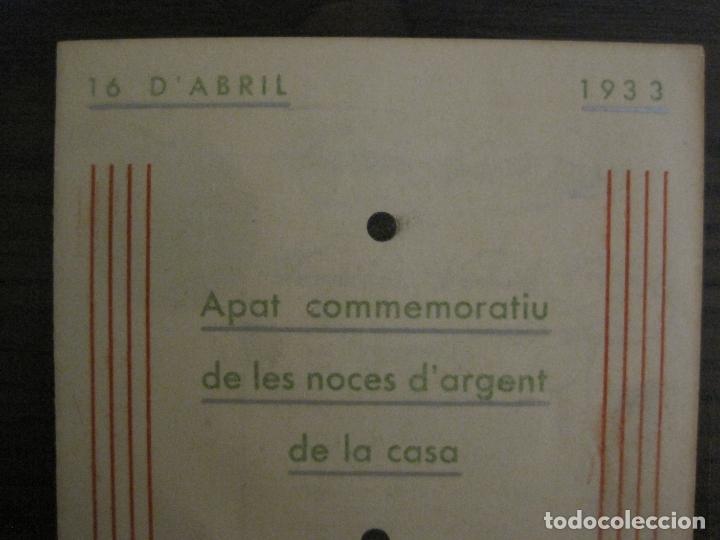 Coleccionismo Papel Varios: NOCES DARGENT CASA E. VEHILS VIDAL-ANY 1933-MENU ANTIC FIRMAT-VER FOTOS-(V-17.008) - Foto 2 - 165100838