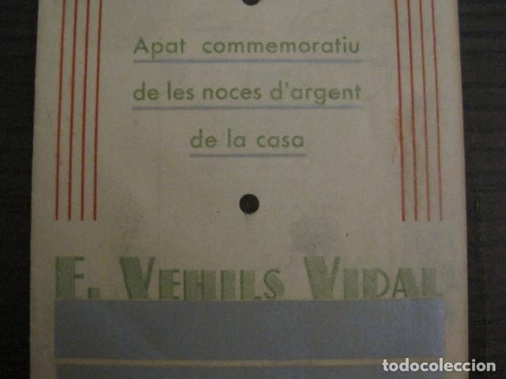 Coleccionismo Papel Varios: NOCES DARGENT CASA E. VEHILS VIDAL-ANY 1933-MENU ANTIC FIRMAT-VER FOTOS-(V-17.008) - Foto 3 - 165100838
