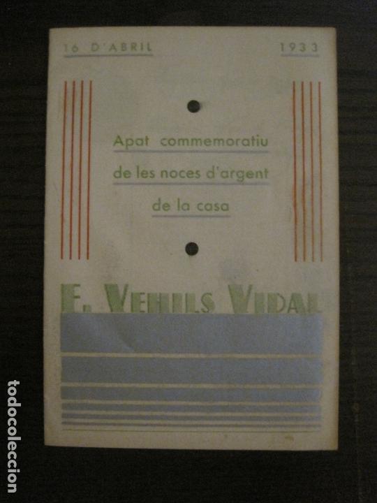 NOCES D'ARGENT CASA E. VEHILS VIDAL-ANY 1933-MENU ANTIC FIRMAT-VER FOTOS-(V-17.008) (Coleccionismo en Papel - Varios)