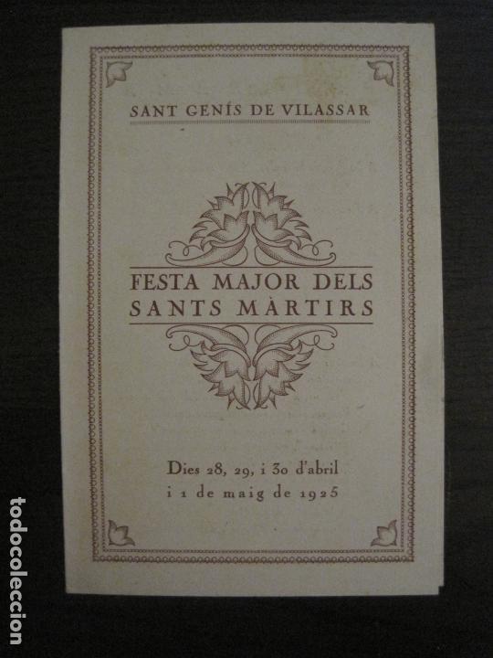 SANT GENIS DE VILASSAR-FESTA MAJOR DELS SANTS MARTIRS-ANY 1925-VER FOTOS-(V-17.029) (Coleccionismo en Papel - Varios)