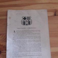Altri oggetti di carta: BOLETÍN DEL FÚTBOL CLUB BARCELONA - BARÇA. Nº 1 PRIMERA PIEDRA NUEVO ESTADIO MIRO SANS. Lote 165476894