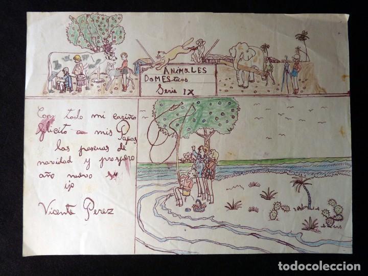 Lote de 7 dibujos infantiles originales posgue comprar - Dibujos infantiles originales ...