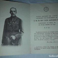 Coleccionismo Papel Varios: ANTIGUO RECORDATORIO DEL 8º ANIVERSARIO DE LA MUERTE DE ALFONSO XIII, AÑO 1949. Lote 165754994