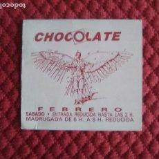 Coleccionismo Papel Varios: FLYER DISCOTECA CHOCOLATE RUTA VALENCIA AÑOS 80. Lote 165781458