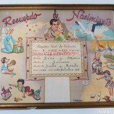 Coleccionismo Papel Varios: AÑO 1959 / RECUERDO DE NACIMIENTO ENMARCADO /V. PASCUAL. Lote 166143397