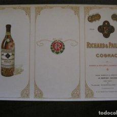 Coleccionismo Papel Varios: RICHARD & PAILLOUD-COGNAC-PAPEL SECANTE PUBLICITARIO DE COÑAC-VER FOTOS-(V-17.293). Lote 166946332