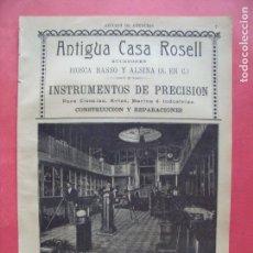 Coleccionismo Papel Varios: ANTIGUA CASA ROSELL.-BIOSCA BASSO Y ALSINA.-INSTRUMENTOS DE PRECISION.-MARINA.-CINEMATOGRAFOS.-1904.. Lote 167053700