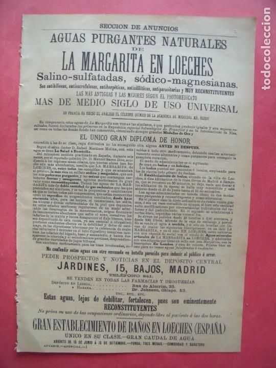 LA MARGARITA EN LOECHES.-AGUAS PURGANTES NATURALES.-BAÑOS DE LOECHES.-MADRID.-PUBLICIDAD.-AÑO 1904. (Coleccionismo en Papel - Varios)