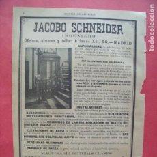 Coleccionismo Papel Varios: JACOBO SCHNEIDER.-INGENIERO.-CALEFACCION.-VENTILACION.-URINARIOS.-PUBLICIDAD.-MADRID.-AÑO 1904.. Lote 167055652