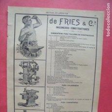 Coleccionismo Papel Varios: FRIES Y CIA.-INGENIEROS CONSTRUCTORES.-CALDERERIA.-CARPINTERIA.-PUBLICIDAD.-BARCELONA.-AÑO 1904.. Lote 167056012