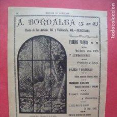 Coleccionismo Papel Varios: A. BORDALBA.-VIDRIOS.-CRISTALES.-LUNAS.-BALDOSA.-VIDRIERAS.-PUBLICIDAD.-BARCELONA.-AÑO 1904.. Lote 167056500