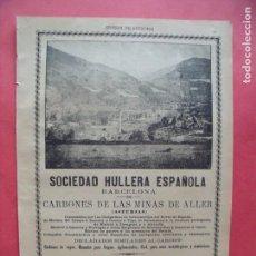 Coleccionismo Papel Varios: SOCIEDAD HULLERA ESPAÑOLA.-BARCELONA.-CARBONES.-MINAS.-ALLER.-ASTURIAS.-PUBLICIDAD.-AÑO 1904.. Lote 167056832