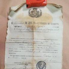 Coleccionismo Papel Varios: DIFICIL DOCUMENTO REGIMIENTO INFANTERIA MALAGA CUMPLIMIENTO SERVICIO MILITAR 1897 ALFONSO XIII. Lote 167714540