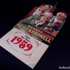 Coleccionismo Papel Varios: BRANDY VIEJO CARBONEL, CALENDARIO 1959. Lote 167828932
