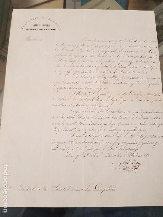 MINAS LA CUADRATURA DEL CIRCULO ANTES MINA SAN GREGORIO LORCA MURCIA 1878 (Coleccionismo en Papel - Varios)