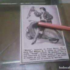 Coleccionismo Papel Varios: RECORTE PUBLICIDAD AÑOS 50 - MEDIA VESPA - MOTO VESPA . Lote 168180564