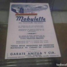 Coleccionismo Papel Varios: RECORTE PUBLICIDAD AÑOS 50 - FABRICA MOTO-CICLOMOTORES MOBYLETTE-GARATE ANITUA Y Cª - EIBAR. Lote 168201996