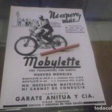 Coleccionismo Papel Varios: RECORTE PUBLICIDAD AÑOS 50 - MOTO - CICLOMOTOR MOBYLETTE - GARATE ANITUA Y Cª - EIBAR. Lote 168204208