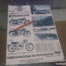 Coleccionismo Papel Varios: RECORTE PUBLICIDAD AÑOS 50 - MOTOCICLETAS EMEUVE Y FABRICA DE MOTOCICLETAS MV - GIJÓM. Lote 168227072