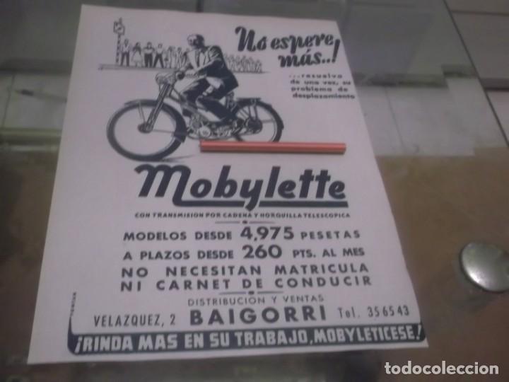 RECORTE PUBLICIDAD AÑOS 50 - MOTO - CICLOMOTOR MOBYLETTE - DISTRIBUCIÓN Y VENTAS BAIGORRI (Coleccionismo en Papel - Varios)