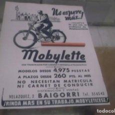 Coleccionismo Papel Varios: RECORTE PUBLICIDAD AÑOS 50 - MOTO - CICLOMOTOR MOBYLETTE - DISTRIBUCIÓN Y VENTAS BAIGORRI. Lote 168304432