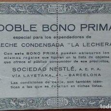 Coleccionismo Papel Varios: VINTAGE DOBLE BONO PRIMA LECHE CONDENSADA NESTLÉ (BARCELONA). DOS VALES DE 25 PUNTOS. Lote 168327124