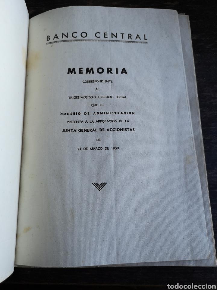 Coleccionismo Papel Varios: Banco central Madrid memoria ejercicio de 1958 - Foto 3 - 168549494