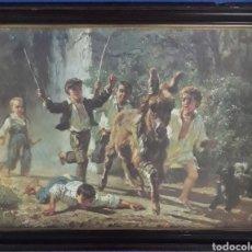 Coleccionismo Papel Varios: LAMINA ENMARCADA NIÑOS CORRIENDO AL BURRO. Lote 168666998