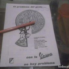 Coleccionismo Papel Varios: RECORTE PUBLICIDAD AÑOS 50 - MOTO VESPA . Lote 168762376