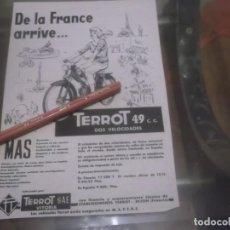 Coleccionismo Papel Varios: RECORTE PUBLICIDAD AÑOS 50 - MOTO - TERROT 49 C.C. - TERROT SAE - VITORIA . Lote 168814984