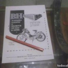 Coleccionismo Papel Varios: RECORTE PUBLICIDAD AÑOS 50 - MOTO-CICLOMOTOR BH - BEISTEGUI HERMANOS S.A. -EIBAR GUIPÚZCOA. Lote 168940016