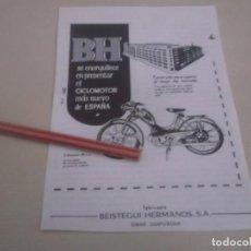 Coleccionismo Papel Varios: RECORTE PUBLICIDAD AÑOS 50 - CICLOMOTOR BH - BEISTEGUI HERMANOS S.A.- EIBAR (GUIPÚZCOA). Lote 169016452