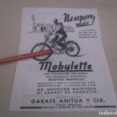 Coleccionismo Papel Varios: RECORTE PUBLICIDAD AÑOS 50 - MOTO- MOBYLETTE -GARATE ANITUA Y CIA - EIBAR (GUIPÚZCOA). Lote 169016524
