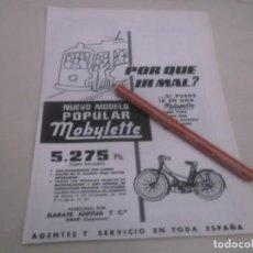 Coleccionismo Papel Varios: RECORTE PUBLICIDAD AÑOS 50 - MOTO- MOBYLETTE -GARATE ANITUA Y CIA - EIBAR (GUIPÚZCOA). Lote 169016548