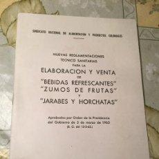 Coleccionismo Papel Varios: ANTIGUO REGLAMENTO DE ELABORACIÓN Y VENTA DE BEBIDAS REFRESCANTES, ZUMOS DE FRUTAS AÑO 1963. Lote 169059076