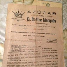 Coleccionismo Papel Varios: ANTIGUO PROSPECTO DE MEDICAMENTO AZÚCAR DEL DR. SASTRE MARQUÉS (AZÚCAR VERMÍFUGO). Lote 169059300