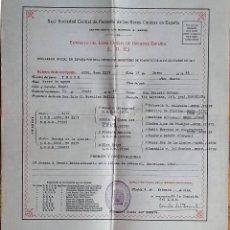 Coleccionismo Papel Varios: 1944. CERTIFICADO ORIGEN DE PERRO (PEDIGREE) REAL SOCIEDAD CENTRAL DE FOMENTO RAZAS CANINAS ESPAÑA. Lote 169102588
