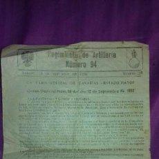 Coleccionismo Papel Varios: ANTIGUO FOLLETO MILITAR REGIMIENTO DE ARTILLERIA NUMERO 94.CAPITANIA GENERAL DE CANARIAS 1958. Lote 169781796