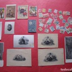 Coleccionismo Papel Varios: GRABADOS.-TARJETAS DE PUBLICIDAD.-CUENTOS.-SELLOS.-FRANCO.-ALFONSO XIII.-REPUBLICA.. Lote 170420776