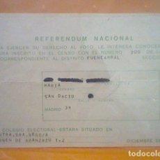 Coleccionismo Papel Varios: LEY REFORMA POLÍTICA REFERENDUM PAPELETA CENSO ELECTORAL COLEGIO 15 DICIEMBRE 1976 . Lote 170528336